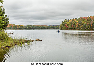Canoeing on an Ontario Lake in Autumn