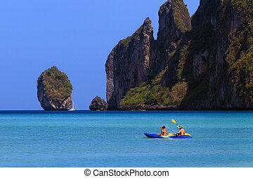 canoeing on Phi Phi island Thailand