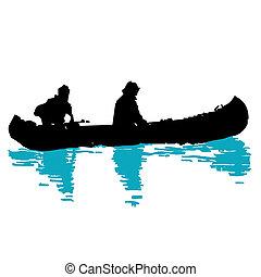 canoeing on the water logo, brand, branding