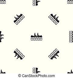 Canoeing pattern seamless black - Canoeing pattern repeat...
