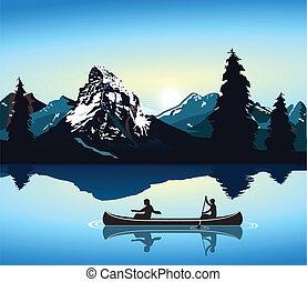 canoeing, und, berg szenerie