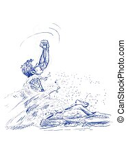 canoeist - an hand drawn illustration - canoeist