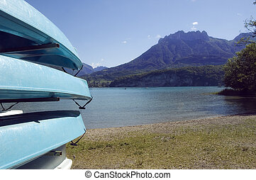 Canoes at lake Annecy