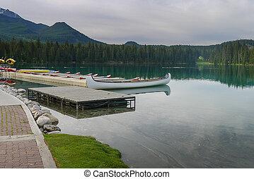 Canoes on a lake in Jasper