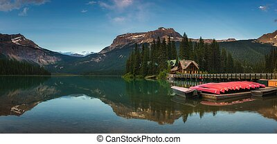 Canoes on beautiful Emerald Lake in Yoho National Park, Canada