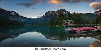 Canoes on Emerald Lake in Yoho National Park, Canada