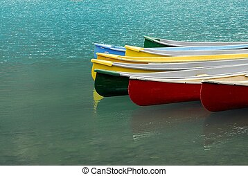Canoes on Moraine Lake,