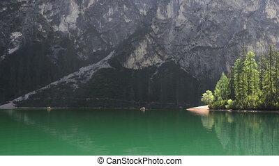 Canoes on the lake - Amazing landscape with kayak at lake...