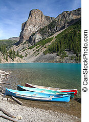 Canoes on the Moraine Lake