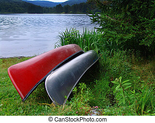 two canoes on a Pennsylvania lake