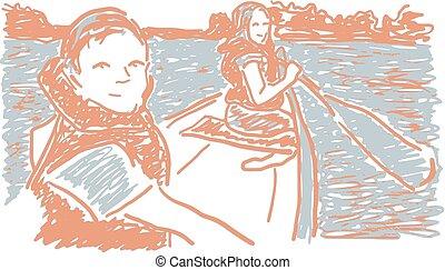 canoismo, bambini, in, lago