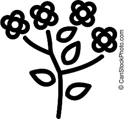 canola blossom flowers icon vector outline illustration - ...