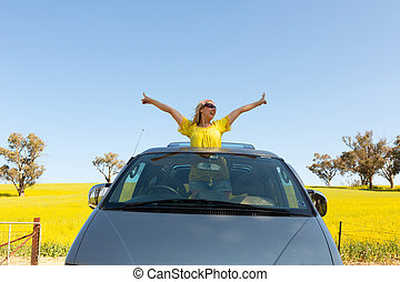 canola, campo, sunroof, saída, feliz, ficar, mulher, dela, car, 4wd