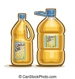 Canola Oil plastic Bottles - Vector logo 2 big yellow ...