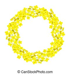 Canola wreath Rapeseed garland blossom flowers card. ...