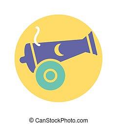 canon, bloque, luna, icono, estilo, diseño