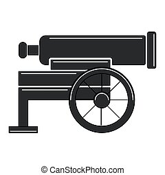 canon, guerra, viejo, aislado, icono