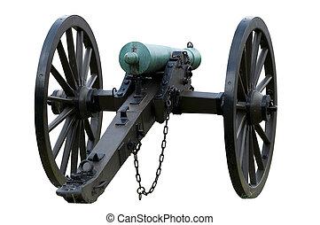 Isolated civil war canon with tarnishd bronze barrel