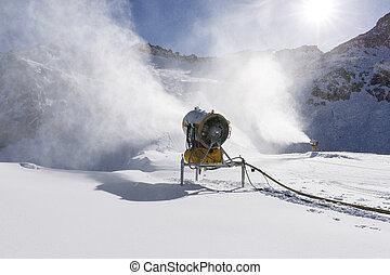 canon, neige, recours, snowmaker, action, ski