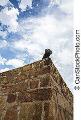 canon, pierre, vieux, murs, fort