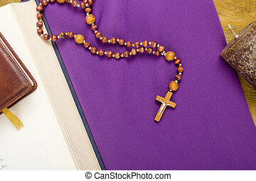 Canonical crucifix on the purple fabric - Canonical crucifix...