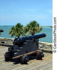 canons and ocean at Castillo de San Marcos fort