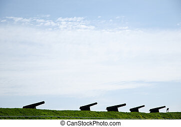 Canons in a row