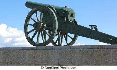 canons, situé, vieux, montagne