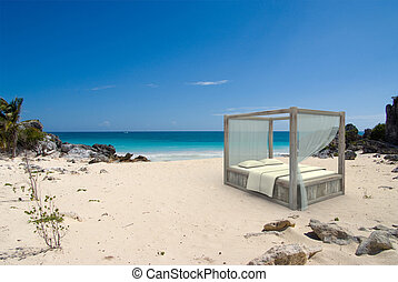 Canopy Bed at the beach - 3D rendering of a canopy bed in a...