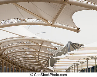 Canopy detail of elevated pedestrian walkway at the EXPO...