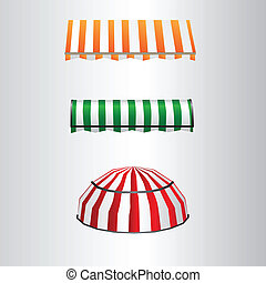 Tent away from direct sunlight over the windows and doors. Vector illustration.