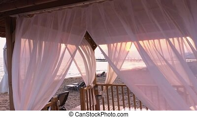 canopy., plage, blanc, luxe