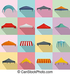 Canopy shed overhang icons set, flat style