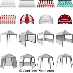 Canopy shed overhang mockup set, realistic style
