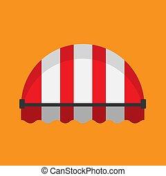 canopy., vendange, vecteur, parasol, boutique, marché, plat, icon., parasol, raie, toit, rouges, épicerie, façade, devant, marquise