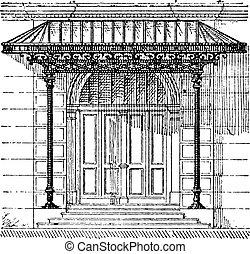 Canopy, vintage engraving