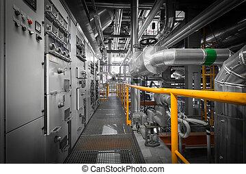 canos, em, um, modernos, térmico, central elétrica