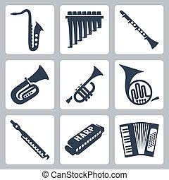 canos, harmônica, acordeão, instruments:, vetorial, musical