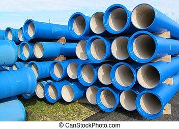 canos, para, transportar, água, e, sewerage