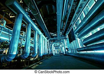 canos, tubos, maquinaria, e, vapor, turbina, em, um, planta poder