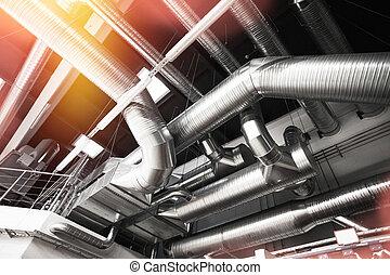 canos, ventilação, condição, ar