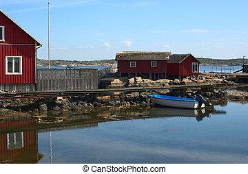 canot automobile, jetée, goteborg, kallo-knippla, île, nord, maisons, suède, petit