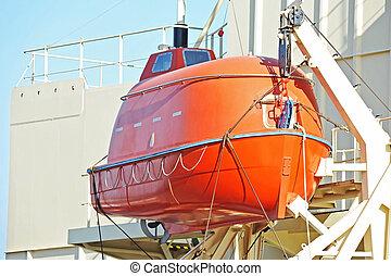 canot de sauvetage, bateau, sécurité, pont