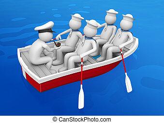 canot de sauvetage, ouvriers, -, collection, escouade, bateau