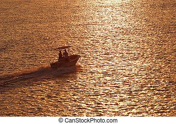 canotage, coucher soleil