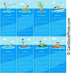canotage, jet-ski, banane, bateau, natation