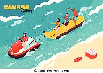 canotage, vecteur, banane, illustration