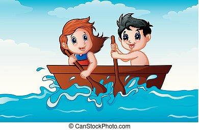 canottaggio, bambini, barca, oceano