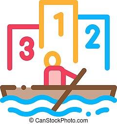 canottaggio, concorrenza, vettore, canoismo, barca, icona, illustrazione