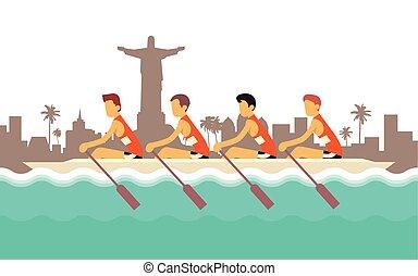 canottaggio, sport, concorrenza, squadra